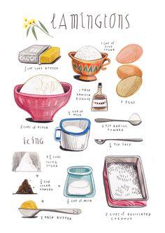 felicita sala: illustrated recipes Beautifully illustrated recipes and actual recipes are great too - Lamingtons - YUM!