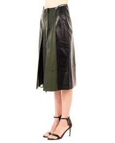 PETAR PETROV Leather skirt with lining high waist green in front, black in back plissé on the front panel front double slider zipper closure 100% Leather  Lining: 100% SE