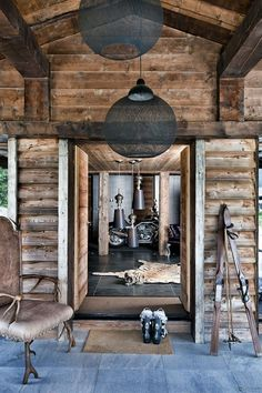 Workshop/getaway cabin rustic crafty home with industrial touch deco and bold color wall deco One Oak Chalet in French Alps Chalet Chic, Chalet Style, Chalet Design, House Design, Cabin Design, Chalet Interior, Interior Design, French Interior, Alpine Chalet