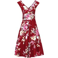 Jolie Moi Floral Print Fit & Flare Dress (75 CAD) ❤ liked on Polyvore featuring dresses, red, sale, floral print dress, red fit and flare dress, fit and flare dress, red dress and floral dresses