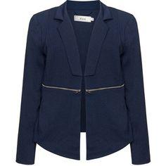 Zizzi Dark-Blue Plus Size Zip detail blazer