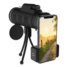 Telescope Scope Zoom Mobile Phone Lens for Smartphone Camera Camping Hiking Fishing with Compass Phone Clip Tripod Phone Lens, Camera Lens, Camera Rig, Leica Camera, Spy Camera, Camera Hacks, Film Camera, Smartphone, Wireless Camera