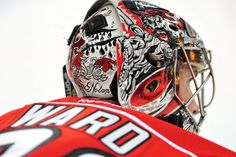 Cam Ward's mask is pretty cool, and it is a revised version of a mask he has been wearing for a while.  Ward tends goals for the Carolina Hurricanes, so his mask featuring the infamous pirate Blackbeard is an excellent choice for his mask.