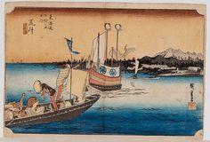"utagawa-hiroshige-1797-1858-Arai - Watashibune no zu. View of ferryboats. Original color woodblock print from the series Tokaido gojusan tsugi no uchi ("" The 53 Stations of Tokaido"") Signature: Hiroshige ga. Publisher: Hoeido. Oban yoko-e, approx. 24,5 x 36 cm"