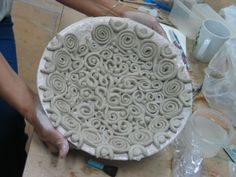 SherLizz: In the making: coiled bowl - when my teacher tried to get it out, it fell apart... bit hesitant to make another one