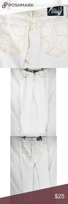 """Abbey Dawn Sz 9 White Avril Lavigne Skinny Jeans These are super cute white star jeans from Avril Lavigne's """"Abbey Dawn"""" clothing line. Very gently worn with no flaws! Women's size 9.  Measurements are: Waist: 29'' Rise: 8 1/2'' Inseam: 30''  **If you appreciate old school quality - you're in the right place. We don't just sell products, we put time & work into them. We ship FAST, usually within 1 business day! Thanks for Poshing in my Closet! 🙂😘 Abbey Dawn Jeans Skinny"""