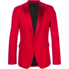 Dsquared2 tuxedo lapel blazer ($2,145) ❤ liked on Polyvore featuring men's fashion, men's clothing, men's sportcoats, red and men's sportcoats and blazers