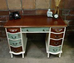 stained and painted antique desk rescue. like color scheme Paint Furniture, Furniture Makeover, Furniture Decor, Antique White Desk, Refinished Desk, White Desks, Vintage Furniture, Office Desk, Repurposed