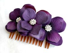 Wedding Hair Accessory - Hydrangea Hair Comb, Purple Flower, Crystal, Velvet, Eggplant, Royal Purple, Bridesmaid. $28.00, via Etsy.