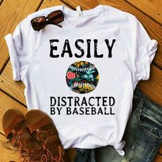 Needs to say Easily Distracted by Baseball! Baseball Sister, Baseball Mom Shirts, Baseball Boys, Better Baseball, Baseball Party, Softball Mom, Baseball Season, Baseball Jerseys, Baseball Players
