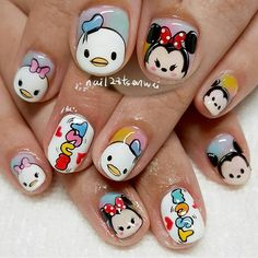 ☺ Disney Nail Designs, Acrylic Nail Designs, Nail Art Designs, Super Cute Nails, Pretty Nails, Disney Acrylic Nails, Disney Princess Nails, Mickey Nails, Nail Drawing
