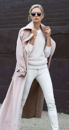 #street #style / pastel pink I am all for wearing my awesome white jeans with a sweater. And boots (not that I don't wear boots in the summer-particularly my black 8 eye docs)
