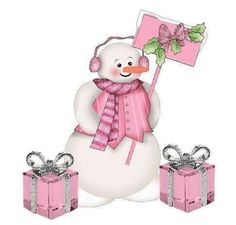 ~o~ Even Snowmen Love to have Christmas  in Pink.........