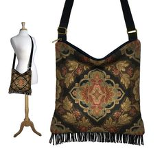 Gypsy Boho Fringe Purse Hippie Bag Hobo Bag by janinekingdesigns