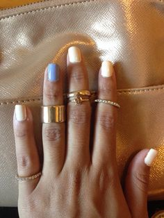 Simple and Natural. Nude and blue. Midi rings.