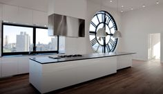 oversized wall window clock. Black & White