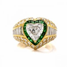 6.64ct GIA D-SI1 Certified Heart Diamond Emerald Engagement Ring