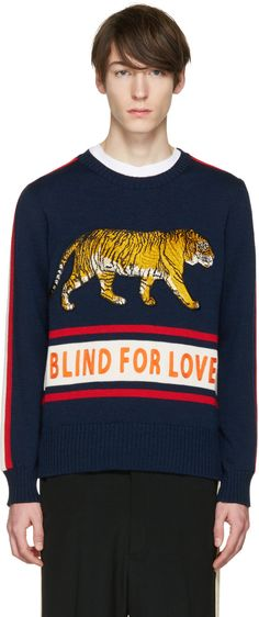 Gucci - Navy 'Blind for Love' Tiger Sweater Gucci Fashion, Mens Fashion, Style Fashion, Red Trousers, Gucci Outfits, Mens Trends, Knitwear Fashion, Gucci Men, Striped Knit