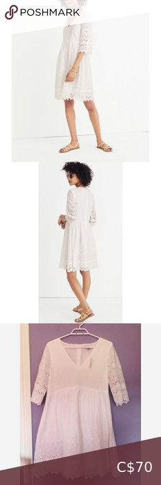 """Madewell NWT Eyelet Lattice Dress Madewell NWT Eyelet Lattice Dress A floaty, feminine dress made of vintage-inspired embroidered eyelet lace with a scalloped hem, this one is a springtime dream. * Nonwaisted. * Falls 36 3/4"""" from high point of shoulder. * Cotton. Madewell Dresses Midi"""