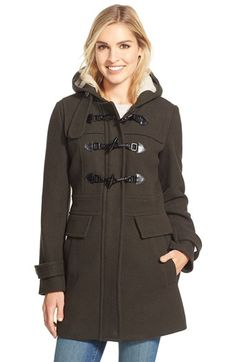 London Fog Wool Blend Duffle Coat with Faux Shearling Lined Hood available at #Nordstrom