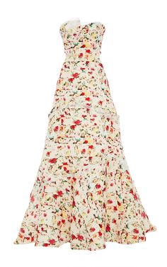 Strapless Floral Ruffle Gazaar Gown by Carolina Herrera for Preorder on Moda Operandi