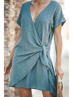 Shop DRESSES - JustFashionNow Summer Dresses Sundress Daily V Neck Short Sleeve ., Shop DRESSES - JustFashionNow Summer Dresses Sundress Daily V Neck Short Sleeve Casual Dresses online. Discover unique designers fashion at JustFashio. Bodycon Dress With Sleeves, Short Sleeve Dresses, Dresses With Sleeves, Sleeved Dress, Chiffon Dresses, Knot Dress, Wrap Dress, Elegant Dresses, Casual Dresses