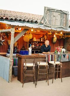 Have an outdoor cantina style open bar for your wedding guests
