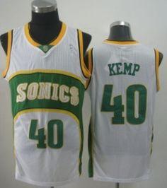 Seattle Supersonics #40 Shawn Kemp 1994-95 White Swingman Jersey