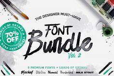 This pack includes 20 weights from 5 font families, over 100 hand drawn vectors, hundreds of bonus glyphs including language support across the board, 3 custom brushes, 16 swashes, 15 vector ink splatters, and a few alternate fonts all rolled into one must have font bundle. affiliate