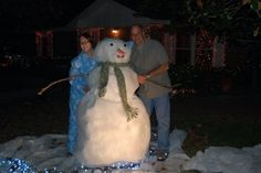 Fake snowman made from polyester batting over a chicken wire form