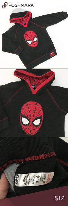 Spider Man fleece hoodie Very good condition. Black fleeced hoodie with Spider Man appliqué. Size 3-4 years Shirts & Tops