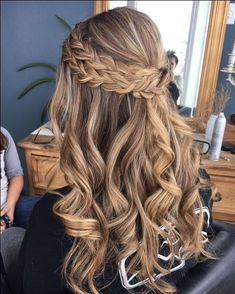 Double braids half up half down hairstyle