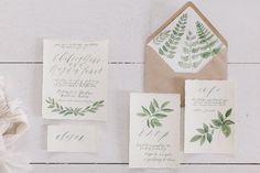 Botanical Stationery, Written Word Organic Invitations | http://writtenwordcalligraphy.com/portfolio-items/organic-calligraphy-bridal-shower-invitations/
