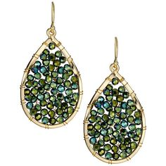 Panacea Teardrop Rhinestone Earrings ($25) ❤ liked on Polyvore featuring jewelry, earrings, green, rhinestone jewelry, beaded jewelry, tear drop jewelry, panacea jewelry e beaded earrings