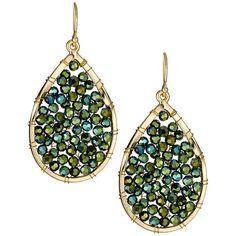 Panacea Teardrop Rhinestone Earrings ($25) ❤ liked on Polyvore featuring jewelry, earrings, green, rhinestone jewelry, beaded jewelry, tear drop jewelry, panacea jewelry e beaded earrings