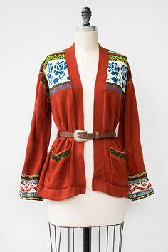 vintage 1970s maroon rose print boho cardigan