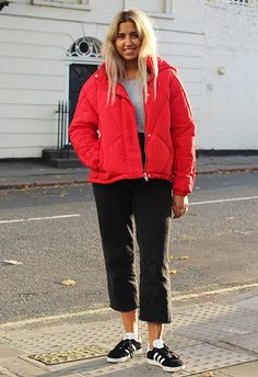 Shannon Mahanty wearing red padded puffer jacket, grey jeans and adidas Gazelle trainers. All available at ASOS | ASOS Fashion & Beauty Feed