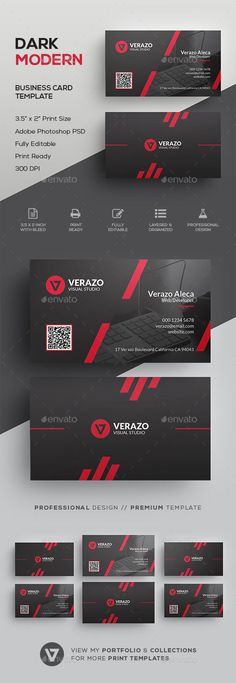 Dark & Modern Corporate Business Card Template - #Corporate #Business #Cards Download here: https://graphicriver.net/item/dark-modern-corporate-business-card-template/19552222?ref=alena994