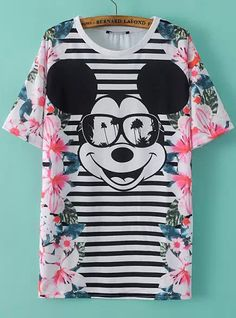 Floral Mickey Print Striped T-Shirt