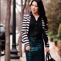 Ann Taylor B&W Stripes Blazer