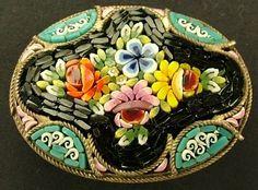 Italian Mosaic Brooch   ANTIQUE ITALIAN MICRO MOSAIC OVAL BROOCH   Mosaics, Tile & Pique As...