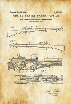 M1 Garand Rifle Patent 1932 - Patent Print, Wall Decor, Gun Art, Firearm Art, M1 Rifle, Military Art, Garand Patent