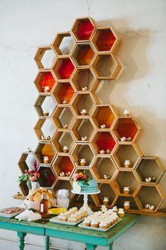 Honey themed dessert display with honeycomb installation piece