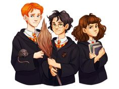 The golden trio Harry, Ron and Hermione Blaise Harry Potter, Harry Potter Magic, Harry Potter Anime, Harry Potter Characters, Harry Potter Universal, Harry Potter Hermione, Harry Potter Fandom, Harry Potter World, Harry Potter Memes