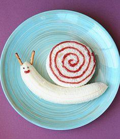 voor de verjaardag van de dochter wil ik dat nog wel eens doen. Maar dan met choco... A Cute (and Easy!) Snail Lunch