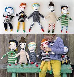 KLTworks OOAK upcycled sweater screenprinted soft dolls plus plush toys, pillows, and kids shirts on etsy