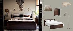 BRUSALI Bett braun mit Nachttischen und BAROMETER Steh-/Leselampen vernickelt