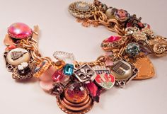 repurposed charm bracelets | ... Cherie Amour Repurposed Vintage Jewelry Charm bracelet one of a kind