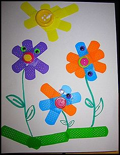 * Bloemen van gekleurde pleisters!