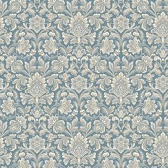 Delicately coloured in tones of frosted cream and icy silver against a metallic blue background, our Foglavik wallpaper is inspired by the artistry and elegance of century interior styling. Featuring a pattern of densely clustered medallions, its be Damask Wallpaper, Home Wallpaper, Wallpaper Roll, Bedroom Wallpaper, Ornament Tapete, Boutique Deco, Winter House, Diy Dollhouse, William Morris